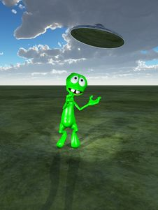 Free Little Green Alien And UFO Royalty Free Stock Image - 14099716