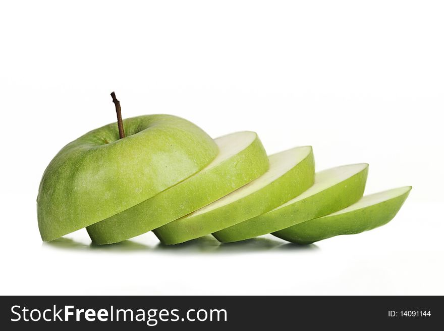 Sliced juicy granny apple