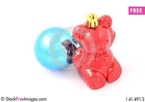 Christmas bear and ball Stock Photo