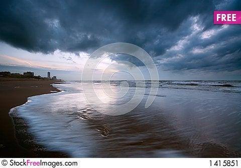 Ocean at night Stock Photo