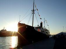 Ship At Sunset Royalty Free Stock Photography
