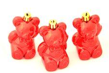 Free Three Christmas Bear Royalty Free Stock Photography - 1415007