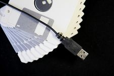 Free Diskettes And USB Cable Stock Photos - 1415133