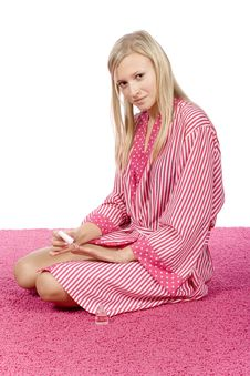 Young Woman Dressed Pink/white Bathrobe Painting Nails