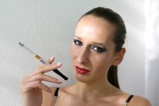 Free Smoking Girl Stock Photography - 1416892