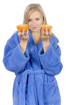 Free Young Blonde Woman With Halfs Of Orange Royalty Free Stock Photo - 1416945