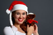 Free Santa Girl Huggin Christmas Teddy Royalty Free Stock Photography - 1417587