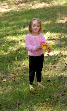Little Girl With Daisy Bouquet Royalty Free Stock Image