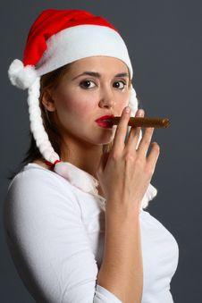 Free Santa Girl Smoking Royalty Free Stock Photography - 1418047