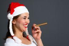 Free Santa Girl Smoking Stock Photos - 1418123