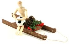 Free Christmas Sled With Soccer Guy Royalty Free Stock Photos - 1418338