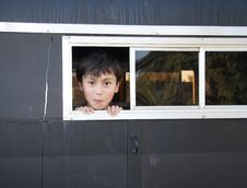 Free Boy In Horse Trailer Royalty Free Stock Photography - 1418547
