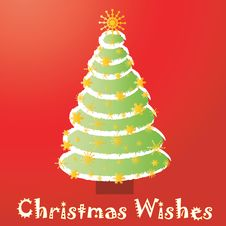 Free Christmas Tree Card With Text Stock Photography - 1419302