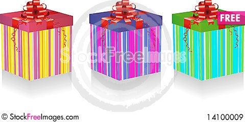 Free Gift Box Set Royalty Free Stock Images - 14100009