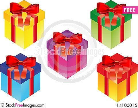 Free Gift Box Set Royalty Free Stock Photo - 14100015