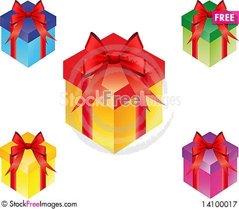 Free Gift Box Set Royalty Free Stock Photography - 14100017