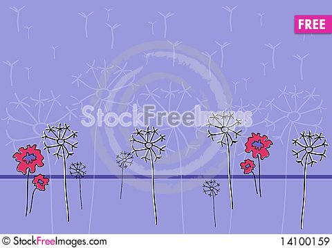 Free Dandelions And Red Flowers Royalty Free Stock Images - 14100159