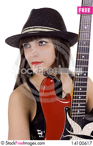Free Woman With Electric Guitar Royalty Free Stock Photography - 14100617