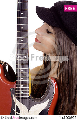 Free Female Musician With Electric Guitar Stock Photography - 14100692