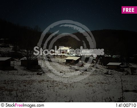 Free Winter Night At The Mountains Stock Photo - 14100710