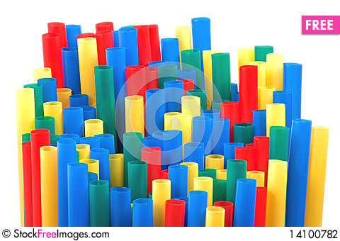 Free Colored Straws On White Background Stock Photography - 14100782