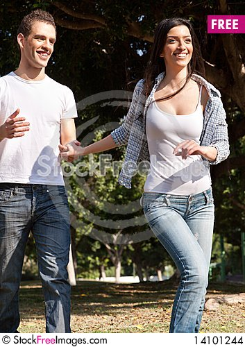 Free Young Couple Running In The Prak Stock Images - 14101244