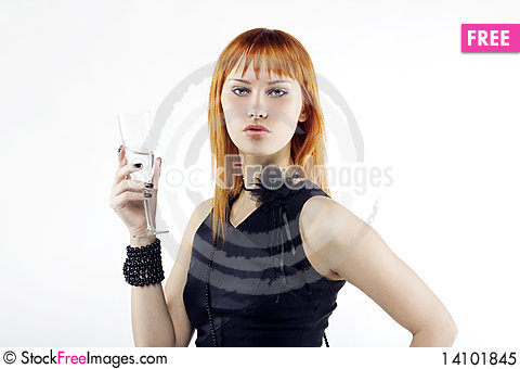 Free Beautiful Red-haired Girl Lifts A Toast Royalty Free Stock Photo - 14101845