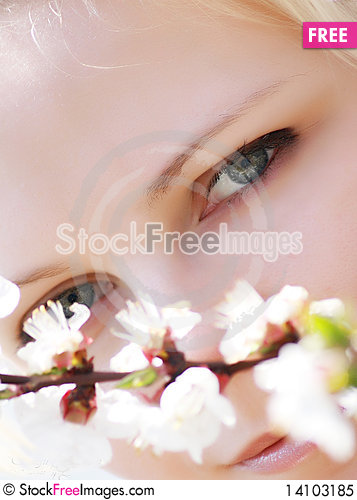 Free Beautiful Blonde With Branch Of The Apricot Royalty Free Stock Photo - 14103185