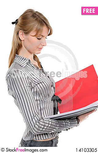 Free Businesswoman Holding A Planner/folder Royalty Free Stock Photo - 14103305