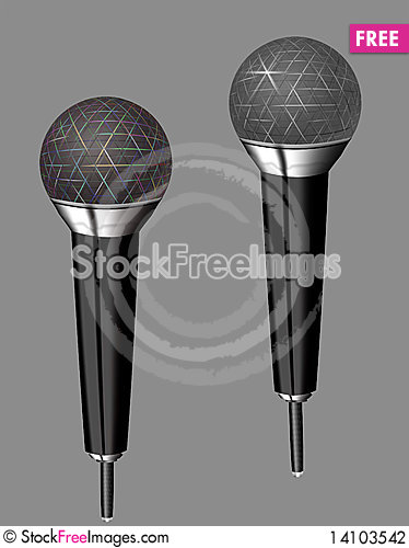 Free Microphones. Monochromatic And Color. Stock Photography - 14103542
