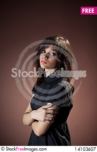 Free Girl In Black Dress Royalty Free Stock Photography - 14103607