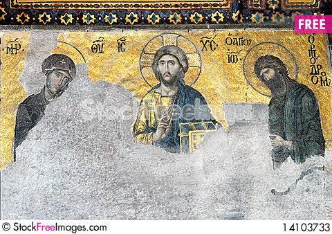 Free Christ Pantrocrator, Virgin Mary, John The Baptist Stock Photos - 14103733