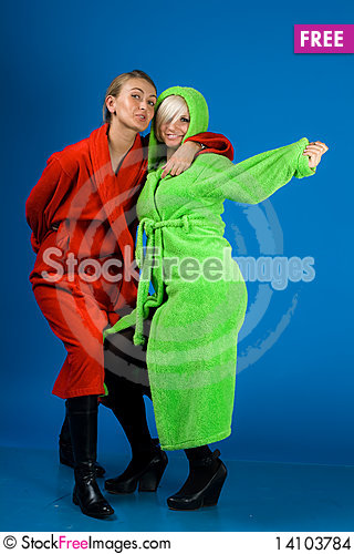 Free Two Happy Friends Girl In Bathrobes Stock Images - 14103784