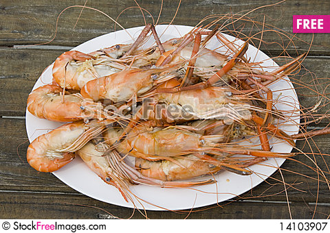 Free Boiled Shrimp Royalty Free Stock Photography - 14103907
