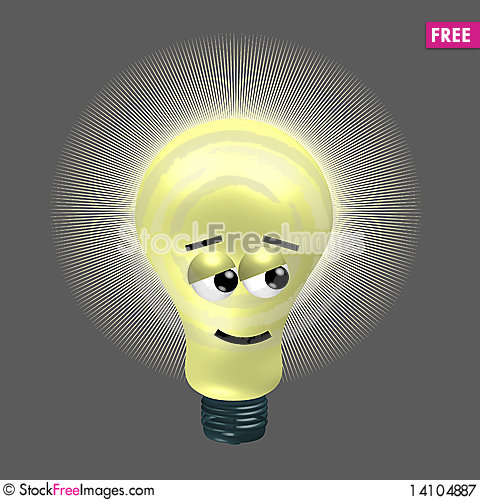 Free Lighting Bulb With A Little Ironic Face Royalty Free Stock Photography - 14104887