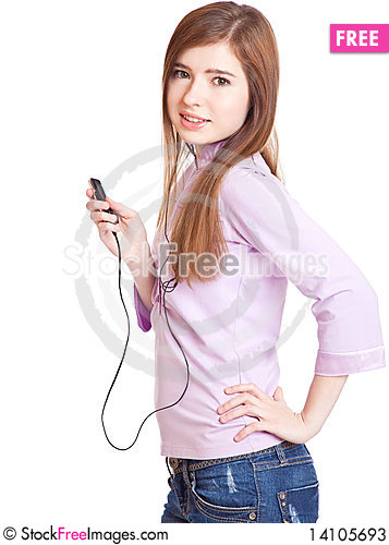Free Young Girl Listening To Music Om Mp3 Player Stock Photos - 14105693