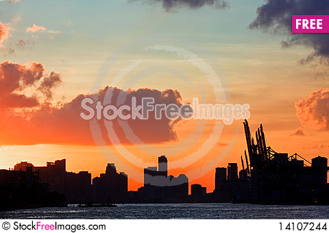 Free Beautiful Colorful Sunset Over The Port Of Miam Stock Images - 14107244