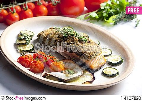 Free Baked Salmon Stock Photo - 14107820