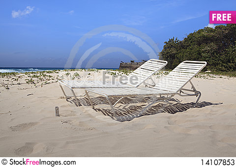 Free Barbados Beach Lounge Chairs Stock Photos - 14107853
