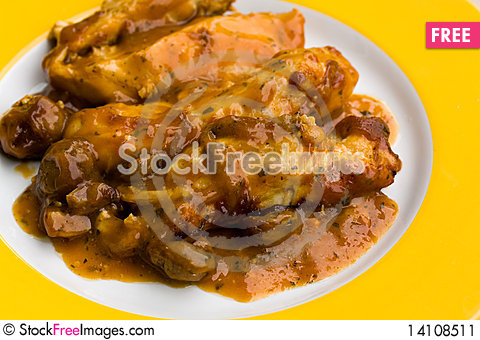 Free Delicious,scalloped Chicken Breast And Chestnuts W Stock Image - 14108511