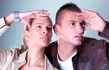 Free Young Pretty Couple Stare Somewhere Stock Image - 14100091
