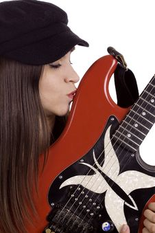 Free Female Musician With Electric Guitar Royalty Free Stock Image - 14100716