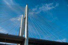 Cable-braced Bridge Across The River