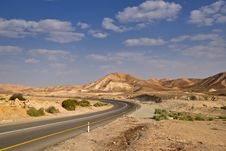 Desert Highway And Sky Royalty Free Stock Photos