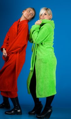 Free Two Happy Friends Girl In Bathrobes Royalty Free Stock Photos - 14103808