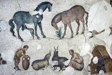 Free Farmers Milking Goats, Mosaic, Istanbul Royalty Free Stock Photo - 14104265