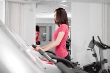 Free Woman On A Running Simulator Stock Photos - 14104413