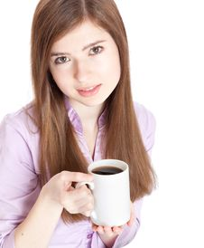 Young Girl With Mug With Coffee Royalty Free Stock Photography