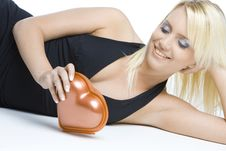 Free Woman With Chocolate Box Stock Photography - 14106872
