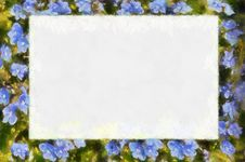 Free Abstract Frame With Blue Flowers Stock Photography - 14108032